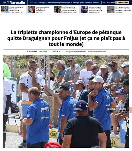 Une du journal Var Matin du 28/6/18; front page of local paper from June 2018
