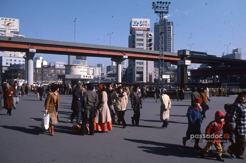 Séoul (Corée du Sud), le centre en février 1980; downtown Seoul (South Korea) in 1980