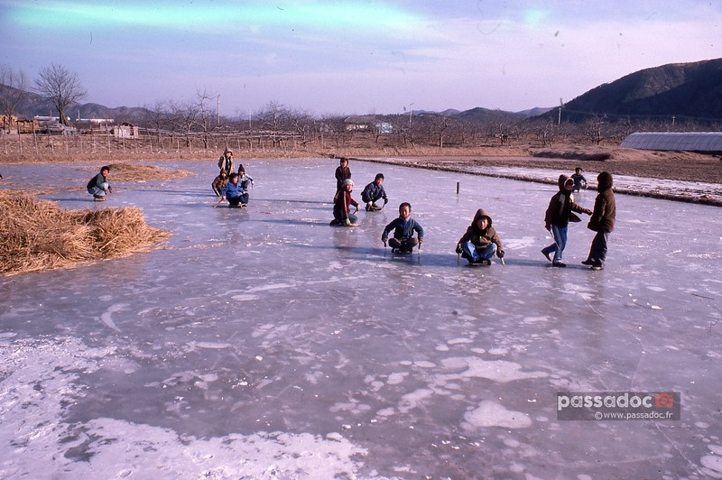 Etang gelé à Hadong (Corée du Sud); frozen pond in Hadong (South Korea)