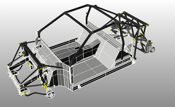 3  Chassis with Front and Rear Hubs and Arms