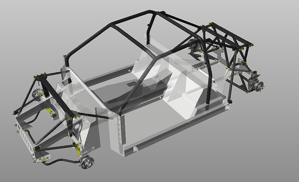 3a  Chassis with Front and Rear Hubs and Arms