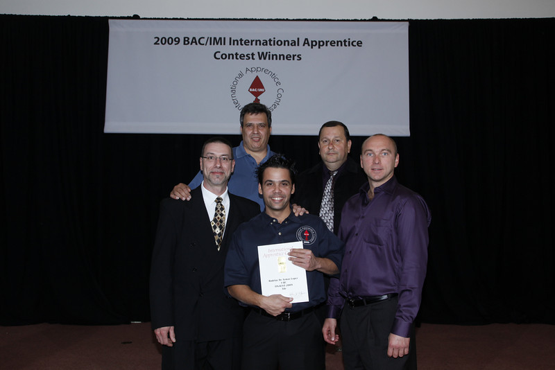 Washington, DC - 2009 BAC/IMI International Apprentice Contest: Contestants and Awardee at the Awards Dinner for the International Union of Bricklayers and Allied Craftworkers (BAC) and International Masonry Institute's (IMI) International Apprentice Contest in the Brick catagory here today, Wednesday September 30, 2009 at the John J. Flynn BAC/IMI International Training Center outside Washington, D.C. Date: Wednesday September 30, 2009 Photo by © BAC/Todd Buchanan 2009  Technical Questions: todd@toddbuchanan.com; Phone: 612-226-5154.