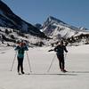 Mary ellen and Bryce on frozen Saddlebag Lake, Mt. Dana