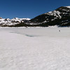 Expansive Saddlebag Lake with our McCabe Saddle goal in the far left distance.