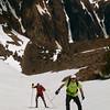 Jeff and Rick climbing the halfpipe above Helen Lake