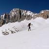 Jeff climbs the upper slopes toward McCabe saddle