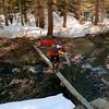 A convenient, but dicey stream crossing below Saddlebag Lake