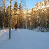 Up through the aspen to Barney Lake, finally on snow for good.
