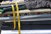textiles fabrick stacked yellow meter tape