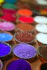 colorful powder pigments in rows