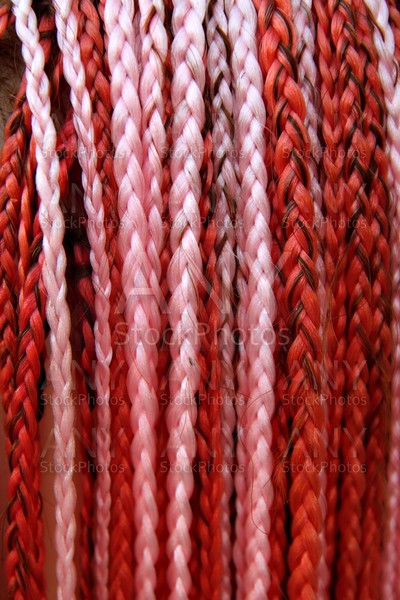 artificial colorful braided hair red and pink