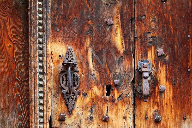 aged grunge wood door weathered rusty handle