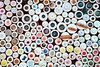 buttons in haberdashery retail shop colorful pattern