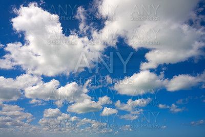 Blue summer sky white cumulus clouds