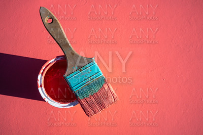 Coral color grunge brush with paint