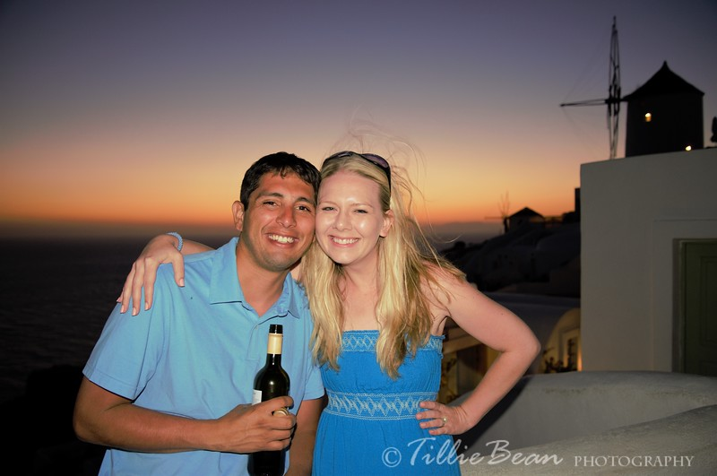 Week 27. Jackie & Dan from Denver, Colorado, USA watching the sunset in Oia, Santorini, Greece