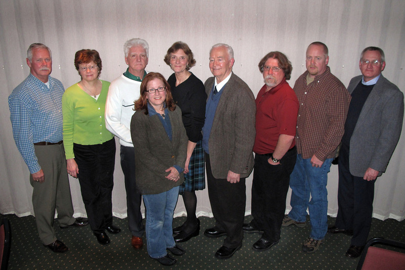 Eight Members of the WALPB who have studied with Bagpipe Instructor Chris Dowling of Rosedale (Originally from Tullamore, Ireland). L-R Rich Denninger, Annie McGrath, PC Jack Sullivan, Kathy Leistner, Mary Shanley, Chris Dowling, BandMaster Steve Ruggles,  Brian Hammerl, and PS John Stone.