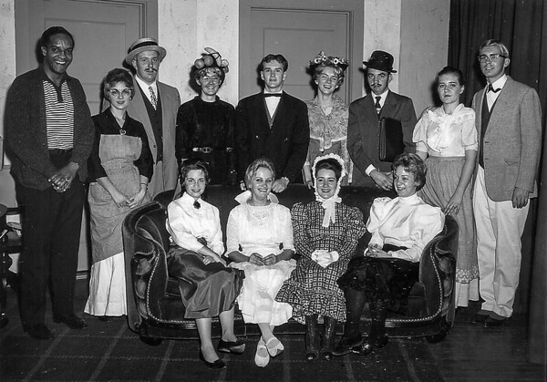 """""""Tomorrow's A Lovely Day"""" a comedy in three acts by James F. Stone, was presented by the class of 1963 on Nvenmber 16 and 17. It was an overwhelming success.  There were so many talented members of the Masque & Whig Club, that two complete casts were selected, one for each night.  Pictured above… Seated: Dana Wilson, Lucille Sharer, Jean Pelter, Iris Blazier Row 2: Mr. Howard Walker, Jean Henshey, Jim Bender, Betty Yetter, Rick Holes, Ivalou Gunsallus, Jim Bonsell, Barbara Estep, Ralph Varner  Second cast included… Nancy Kutruff, Judy Hostler, Art Putt, Kathy Gearhart, Hilda McCloskey, Betty Davinsizer, Sabra Williams, Bill McCaulley, Cheryl Shope, Gene Shauf, Betty Forshey and Paul Hicks"""
