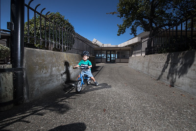 Louie Villarreal, 2, and his grandmother Genea, who lives nearby, have been waiting for the reopening of the Hayward Park.  It's set to be reopened in mid to late October.  Photo by Paul Kuroda