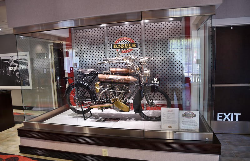 This was inside the Hilton where I stayed near Barber Vintage Motorsports Museum (near Birmingham) Leeds, AL. This is a $100,000 vintage Harley.