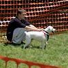 Boy, small white dog (recall)