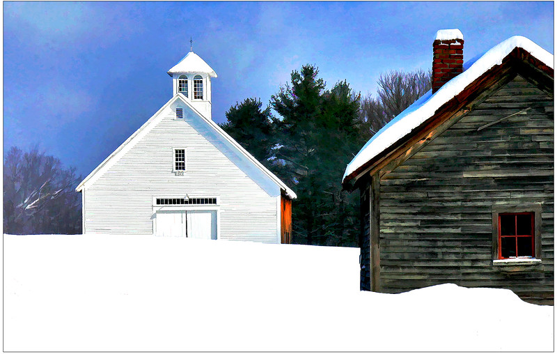 2 barns at Muster field Farm , N.Sutton, NH