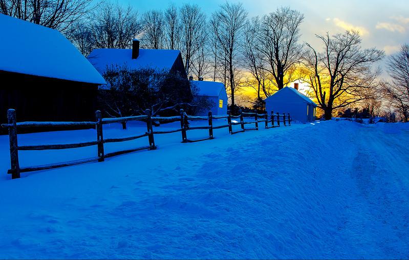 New London Historical Society Barns, NH sunset