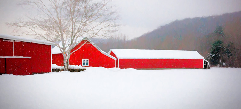 Winter red barns #1