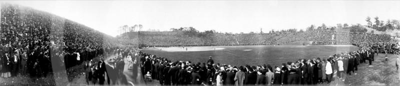 Brookside Stadium, Cleveland, Ohio. Final Inter-City Championship Game, White Autos vs. Luxus of Omaha. 10 October  1915. Attendance over 100,000. Score Autos 11 vs  Luxus 6.
