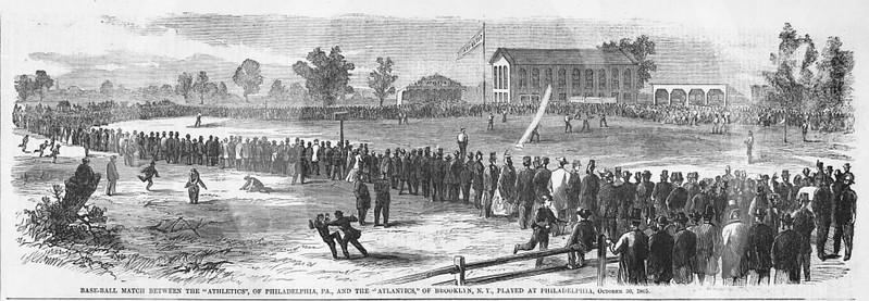 Baseball game between the Philadelphia Athletics and the Brooklyn Atlantics played at Philadelphia, October 1865.