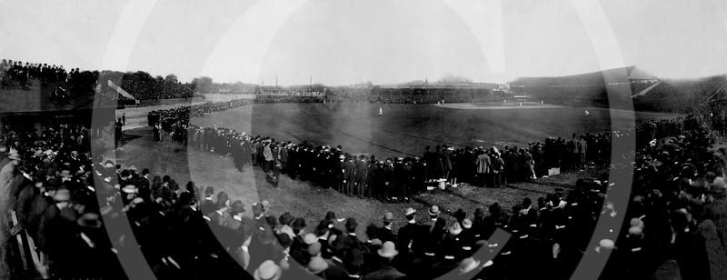 Bennett Park, Detroit, Michigan. World Series, Game 5, Chicago Cubs NL 2 v  Detroit Tigers AL 0. 12 October 1907.