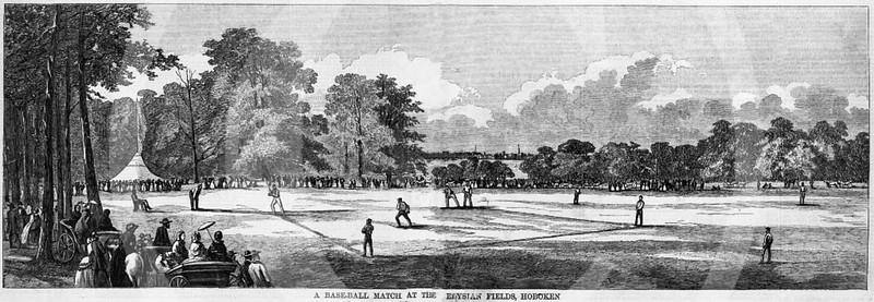 A baseball match at the Elysian Fields, Hoboken 15 October 1859.