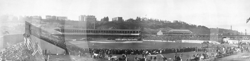 Polo Grounds, New York City. World Series, Game 5 on 14 October 1905. New York Giants, NL 2 beat  Philadelphia Athletics, AL 0 wrapping up the series 4 games to 1.