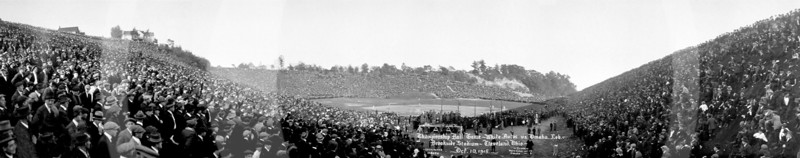 Brookside Stadium, Cleveland, Ohio. Championship ball game, White Autos vs. Omaha, Nebraska.10 October 1915. Attendance 115,000. Score - White Autos 11 vs Omaha 6.