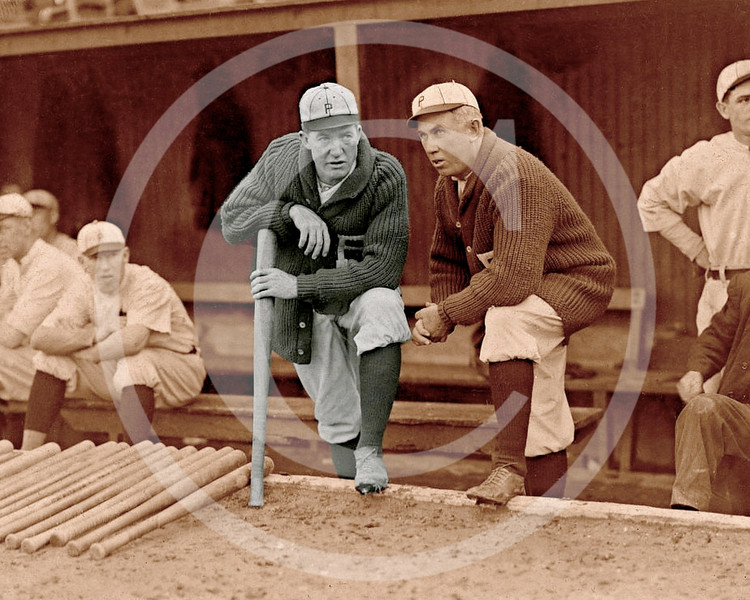 Grover Cleveland Alexander & manager Pat Moran. In the background are Joe Oeschger, Possum Whitted, & Milt Stock, Philadelphia Phillies  NL 1915