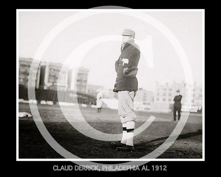 Claud Derrick, Philadelphia Athletics AL, at Hilltop Park NY,  1912.