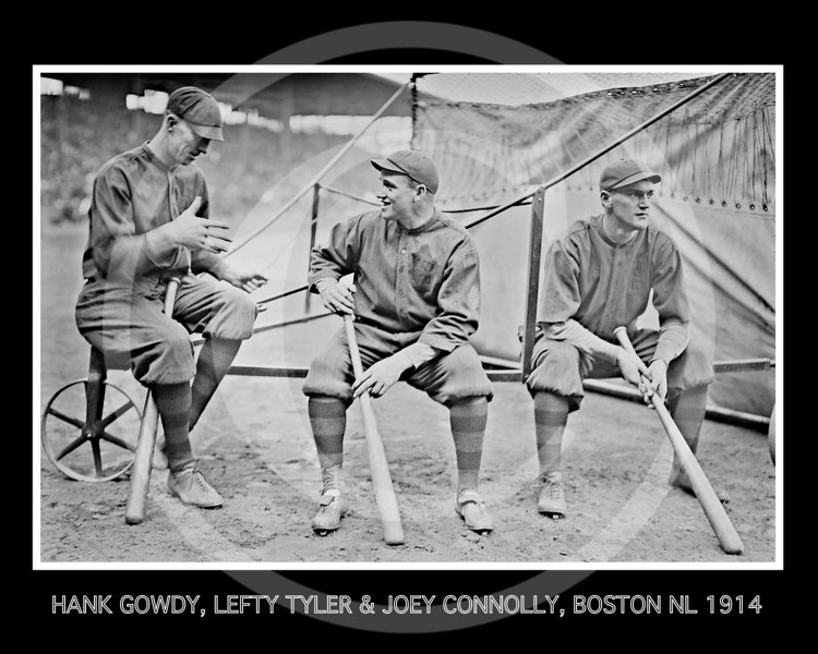 Lefty Tyler - Hank Gowdy, Lefty Tyler, Joey Connolly, Boston Braves NL,  1914.