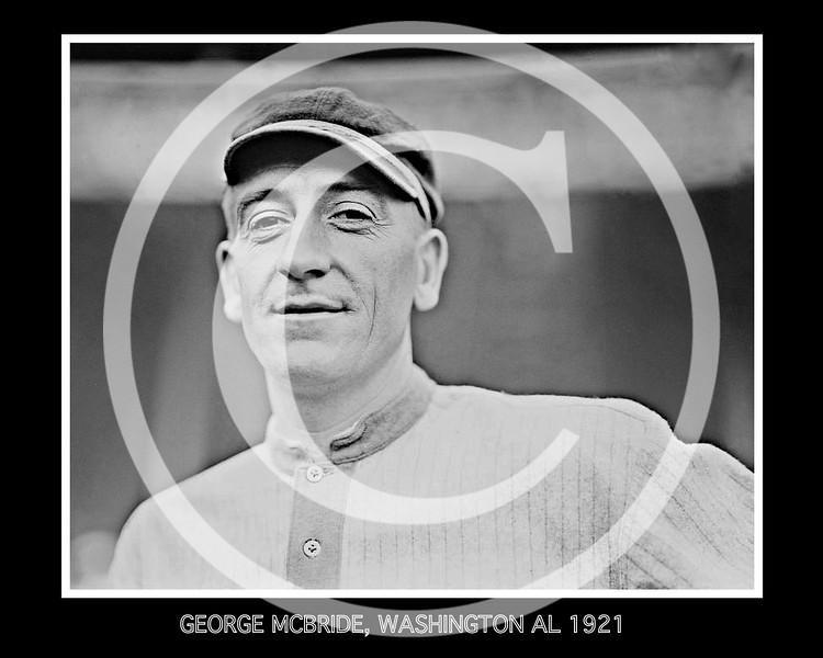 George McBride, Washington Senators AL,  1921.