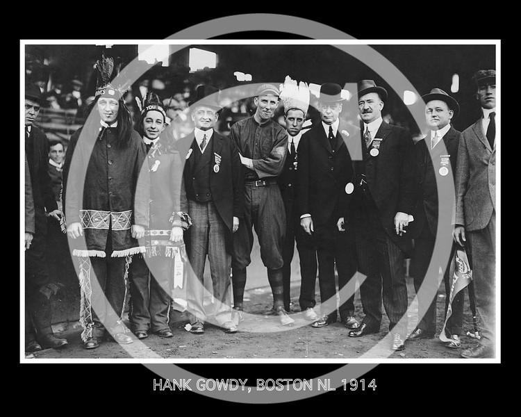 Hank Gowdy, Boston Braves NL, with John Francis Fitzgerald, mayor of Boston,  Mr. Gaffney, Game 1, World Series, Boston 10 Oct 1914.