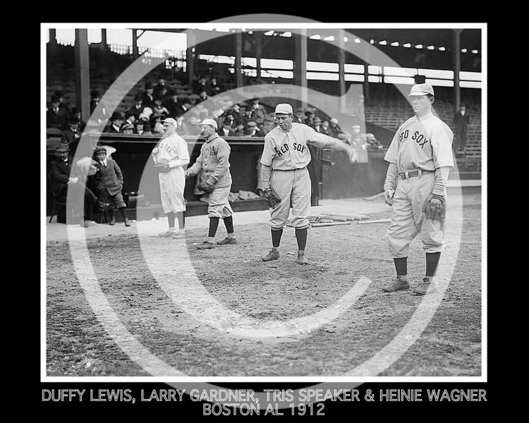Duffy Lewis, Larry Gardner, Tris Speaker and Heinie Wagner, Boston Red Sox AL, 1912.
