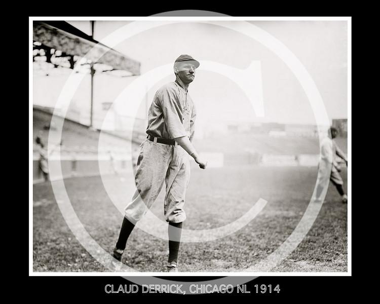 Claud Derrick, Chicago Cubs NL, 1914.