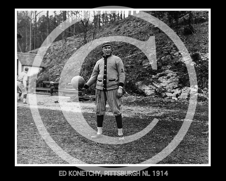 Ed Konetchy, Pittsburgh Pirates NL, 8 April 1914.