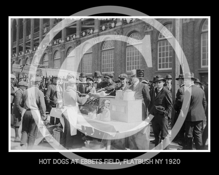 Baseball fans buying hot dogs while waiting for gates to open at Ebbets Field, New Yorfk City, October 6, 1920.