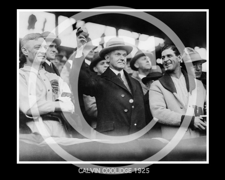 "Calvin Coolidge, President of the United States, and Stanley Raymond ""Bucky"" Harris, Washington Senators AL, Opening Day, 1925."