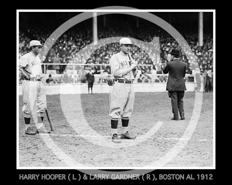 Harry Hooper (left) and Larry Gardner (centre), Boston Red Sox AL, 1912.