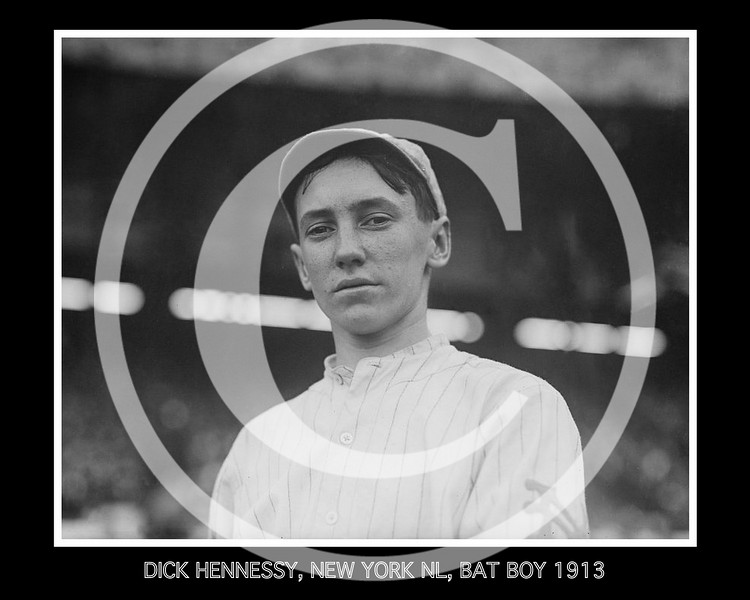 Dick Hennessy, New York Giants NL, batboy and mascot, at the Polo Grounds, New York, 1913.