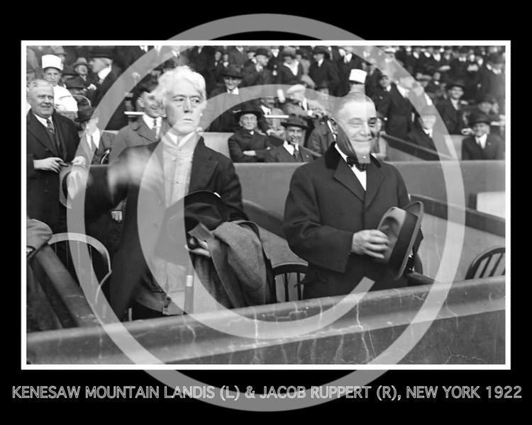 Judge Kenesaw Mountain Landis, Baseball Commissioner, & Jacob Ruppert, owner of New York Yankees AL,  1922.