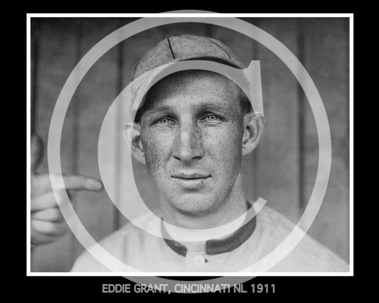 Eddie Leslie Grant, third baseman for the Cincinnati Reds 13 May 1911. He became one of the few major leaguers who were killed in World War l.