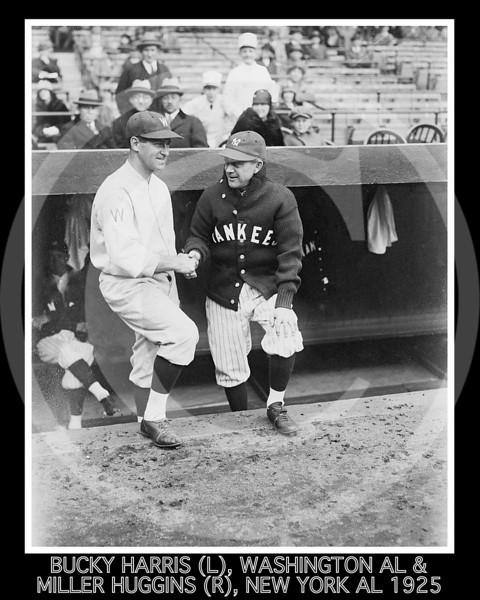 "Miller Huggins - Stanley Raymond ""Bucky"" Harris, manager Washington Senators AL, & Miller Huggins, manager New York Yankees AL, 15 April 1925."
