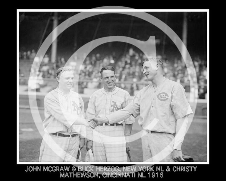 BUCK HERZOG - JOHN MCGRAW & BUCK HERZOG, NEW YORK NL & CHRISTY MATHEWSON, CINCINNATI NL 1916